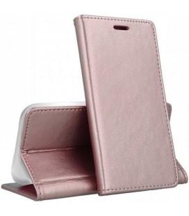 """Rausvai auksinės spalvos atverčiamas dėklas Samsung Galaxy A12 telefonui """"Smart Magnetic"""""""