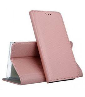 """Rausvai auksinės spalvos atverčiamas dėklas Samsung Galaxy A12 telefonui """"Smart Magnet"""""""