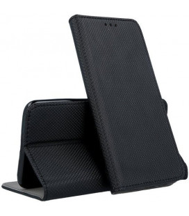 """Juodas atverčiamas dėklas Samsung Galaxy A12 telefonui """"Smart Magnet"""""""
