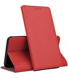 """Raudonas atverčiamas dėklas Samsung Galaxy A12 telefonui """"Smart Magnet"""""""