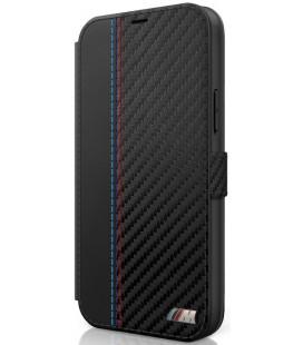 """Juodas atverčiamas dėklas Apple iPhone 12 Mini telefonui """"BMFLBKP12SMCARBK BMW PU Carbon Contrast Book Case"""""""