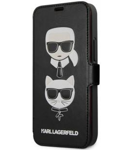 """Juodas atverčiamas dėklas Apple iPhone 12 Mini telefonui """"KLFLBKSP12SFKICKC Karl Lagerfeld Heads Book Case"""""""