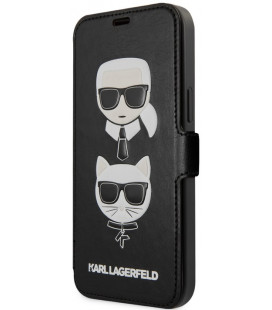 """Juodas atverčiamas dėklas Apple iPhone 12 Pro Max telefonui """"KLFLBKSP12LFKICKC Karl Lagerfeld Heads Book Case"""""""