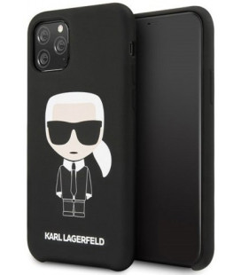 "Juodas dėklas Apple iPhone 11 Pro telefonui ""KLHCN58SLFKBK Karl Lagerfeld Iconic Silicone Cover"""