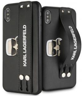 "Juodas dėklas Apple iPhone X/XS telefonui ""KLHCPXHA2BK Karl Lagerfeld Head Hand Strap Case"""