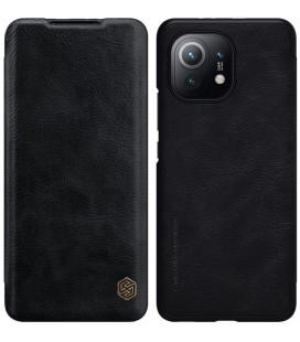 """Odinis juodas atverčiamas dėklas Xiaomi Mi 11 telefonui """"Nillkin Qin"""""""