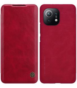 """Odinis raudonas atverčiamas dėklas Xiaomi Mi 11 telefonui """"Nillkin Qin"""""""
