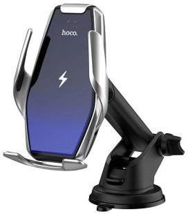 """Sidabrinės spalvos automobilinis telefono laikiklis su belaidžio krovimo funkcija """"Hoco S14"""""""