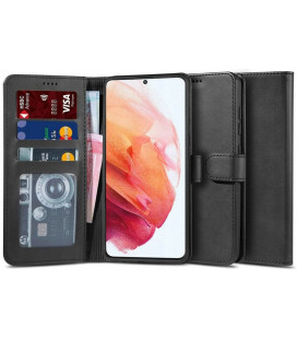 """Juodas atverčiamas dėklas Samsung Galaxy S21 telefonui """"Tech-protect Wallet 2"""""""
