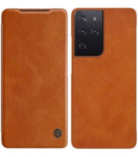 """Odinis rudas atverčiamas dėklas Samsung Galaxy S21 Ultra telefonui """"Nillkin Qin"""""""