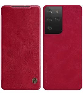 """Odinis raudonas atverčiamas dėklas Samsung Galaxy S21 Ultra telefonui """"Nillkin Qin"""""""