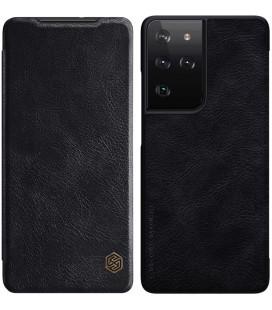 """Odinis juodas atverčiamas dėklas Samsung Galaxy S21 Ultra telefonui """"Nillkin Qin"""""""