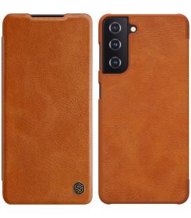 """Odinis rudas atverčiamas dėklas Samsung Galaxy S21 telefonui """"Nillkin Qin"""""""