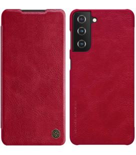 """Odinis raudonas atverčiamas dėklas Samsung Galaxy S21 telefonui """"Nillkin Qin"""""""