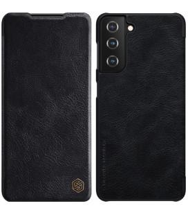 """Odinis juodas atverčiamas dėklas Samsung Galaxy S21 telefonui """"Nillkin Qin"""""""