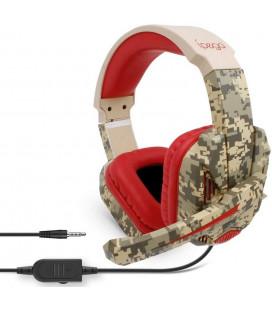 """Raudonos (Camo) žaidimų ausinės su mikrofonu 3,5mm """"iPega PG-R005"""""""