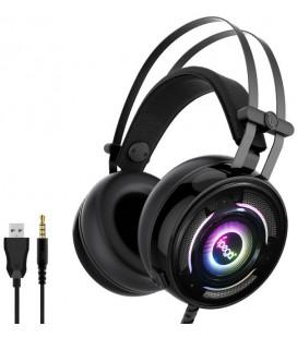 """Juodos žaidimų ausinės su mikrofonu 3,5mm """"iPega PG-R008 RGB"""""""