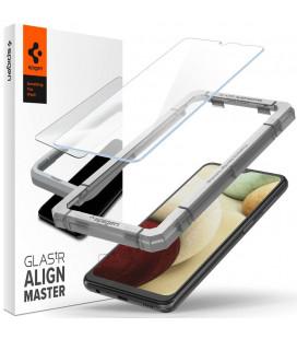 "Apsauginis grūdintas stiklas Samsung Galaxy A12 / M12 telefonui ""Spigen AlignMaster Glas tR"""