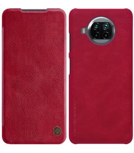 """Odinis raudonas atverčiamas dėklas Xiaomi Mi 10T Lite 5G telefonui """"Nillkin Qin"""""""