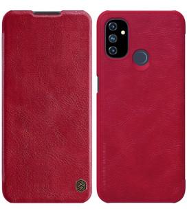 """Odinis raudonas atverčiamas dėklas Oneplus Nord N100 telefonui """"Nillkin Qin"""""""
