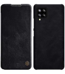"""Odinis juodas atverčiamas dėklas Samsung Galaxy A42 telefonui """"Nillkin Qin"""""""