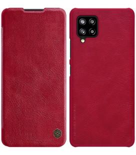 """Odinis raudonas atverčiamas dėklas Samsung Galaxy A42 telefonui """"Nillkin Qin"""""""