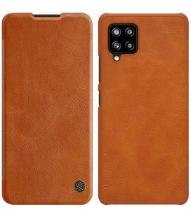 """Odinis rudas atverčiamas dėklas Samsung Galaxy A42 telefonui """"Nillkin Qin"""""""