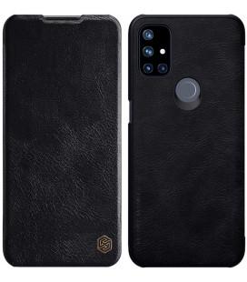 """Odinis juodas atverčiamas dėklas Oneplus Nord N10 telefonui """"Nillkin Qin"""""""