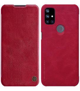 """Odinis raudonas atverčiamas dėklas Oneplus Nord N10 telefonui """"Nillkin Qin"""""""