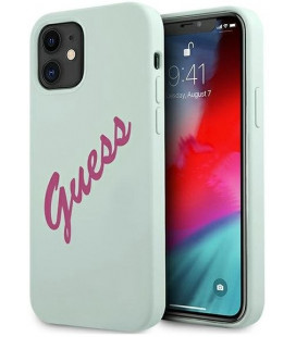 "Mėlynas dėklas Apple iPhone 12 Mini telefonui ""GUHCP12SLSVSBF Guess Silicone Vintage Fuchsia Script Cover"""
