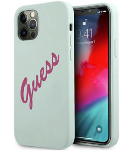 "Mėlynas dėklas Apple iPhone 12/12 Pro telefonui ""GUHCP12MLSVSBF Guess Silicone Vintage Fuchsia Script Cover"""