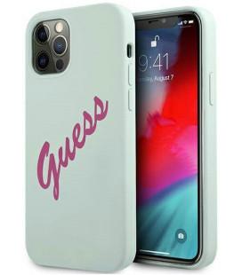 "Mėlynas dėklas Apple iPhone 12 Pro Max telefonui ""GUHCP12LLSVSBF Guess Silicone Vintage Fuchsia Cover"""