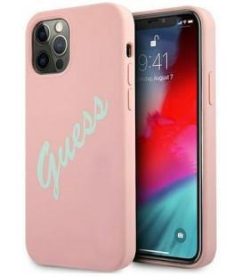 "Rožinis dėklas Apple iPhone 12 Pro Max telefonui ""GUHCP12LLSVSPG Guess Silicone Vintage Green Script Cover"""