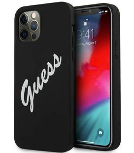 "Juodas dėklas Apple iPhone 12 Pro Max telefonui ""GUHCP12LLSVSBW Guess Silicone Vintage White Script Cover"""