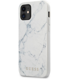 "Baltas dėklas Apple iPhone 12 Mini telefonui ""GUHCP12SPCUMAWH Guess PC/TPU Marble Cover"""