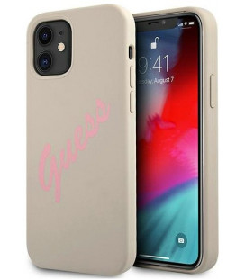 "Pilkas dėklas Apple iPhone 12 Mini telefonui ""GUHCP12SLSVSGP Guess Silicone Vintage Pink Script Cover"""
