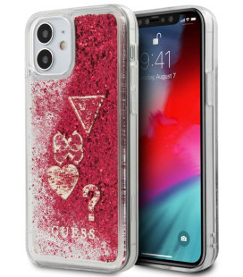 "Raudonas dėklas Apple iPhone 12 Mini telefonui ""GUHCP12SGLHFLRA Guess Liquid Glitter Charms Cover"""