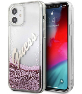 "Rožinis dėklas Apple iPhone 12 Mini telefonui ""GUHCP12SGLVSPI Guess Liquid Glitter Vintage Cover"""