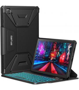 """Juodas atverčiamas dėklas su klaviatūra Samsung Galaxy A7 10.4 T500/T505 planšetei """"Infiland Keyboard Stand"""""""