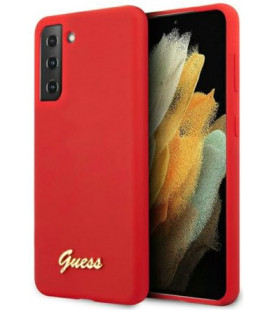 "Raudonas dėklas Samsung Galaxy S21 telefonui ""GUHCS21SLSLMGRE Guess Silicone Metal Logo Script Cover"""