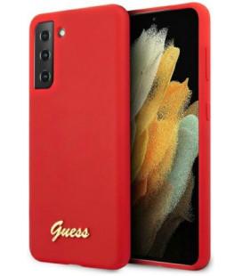 "Raudonas dėklas Samsung Galaxy S21 Plus telefonui ""GUHCS21MLSLMGRE Guess Silicone Metal Logo Script Cover"""