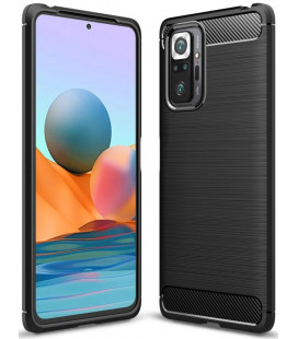 "Juodas dėklas Xiaomi Redmi Note 10 Pro telefonui ""Tech-Protect TPUCarbon"""