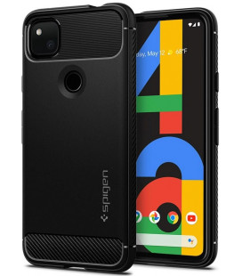 "Matinis juodas dėklas Google Pixel 4A telefonui ""Spigen Rugged Armor"""