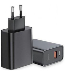 "Juodas USB+USB-C PD30W/QC3.0 pakrovėjas ""Baseus Speed PPS"""