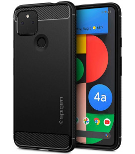 "Matinis juodas dėklas Google Pixel 4A 5G telefonui ""Spigen Rugged Armor"""