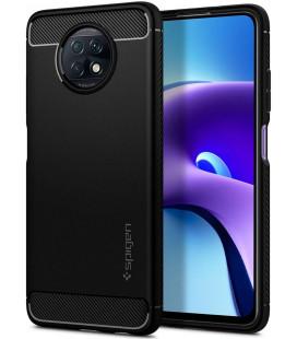 "Matinis juodas dėklas Xiaomi Redmi Note 9T 5G telefonui ""Spigen Rugged Armor"""