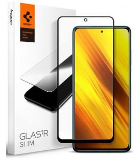 """Juodas apsauginis grūdintas stiklas Xiaomi Poco X3 Pro / X3 NFC telefonui """"Spigen Glas.TR Slim"""""""
