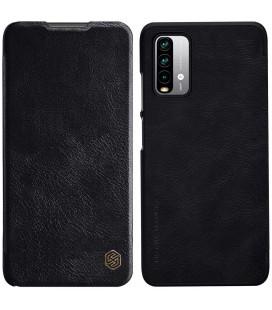 """Odinis juodas atverčiamas dėklas Xiaomi Redmi 9T telefonui """"Nillkin Qin"""""""