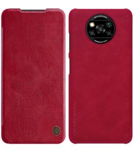 """Odinis raudonas atverčiamas dėklas Xiaomi Poco X3 NFC / X3 Pro telefonui """"Nillkin Qin"""""""