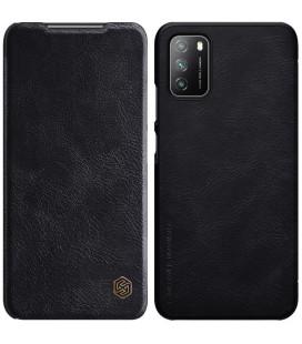 """Odinis juodas atverčiamas dėklas Xiaomi Poco M3 telefonui """"Nillkin Qin"""""""